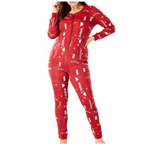 Xmas Print Onesie Pajamas Union Suit 5X 90-F